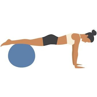 Vector mulher e bola de fitness exercem treino de ginásio