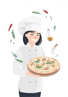 Vector mulher homem cozinheiro permanente com pizza