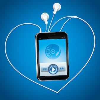 Vector music player com touchscreen e botão play