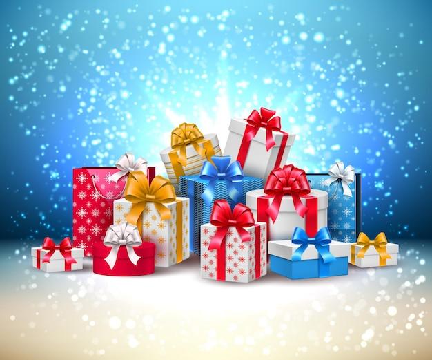 Vector natal ano novo feriado presentes caixas pilha de presentes com fita de seda de embrulho brilhante