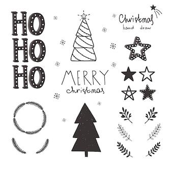 Vector natal e ano novo mão desenhada set