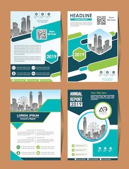 Vector negócios conjunto capa design flyer em a4