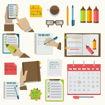 Vector notebooks agenda negócios notas coleção.
