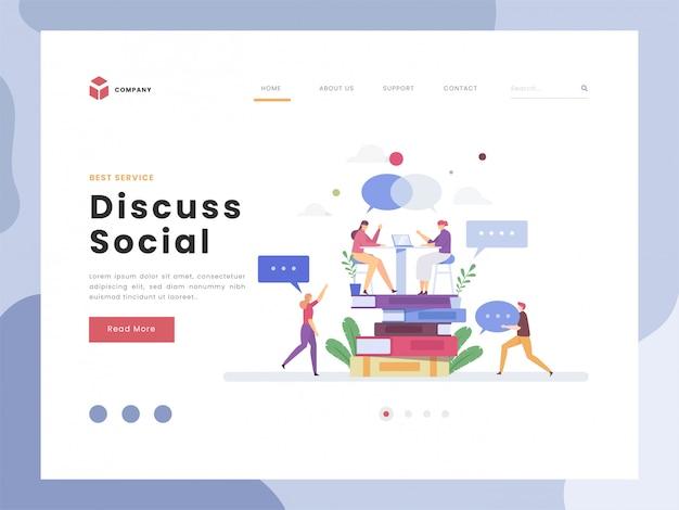 Vector o conceito da ideia da ilustração para o modelo da página de aterrissagem, discuta do social, liso minúsculo que faz uma conversação para expressar pensamentos verbais. resposta de comunicação de diálogo e reunião de perguntas. estilos simples