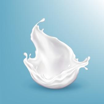 Vector o leite 3d realístico que espirra, bebida brilhante isolada no fundo azul.