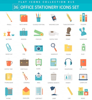Vector office papelaria cor plana icon set. design de estilo elegante.