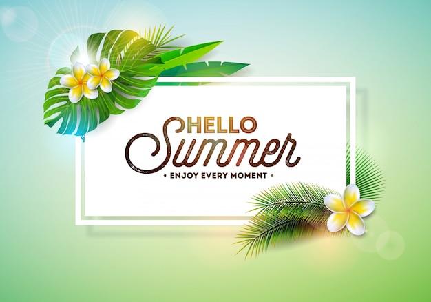 Vector olá tipografia de férias de verão