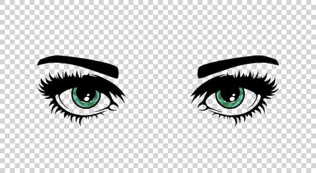 Vector olhos femininos verdes