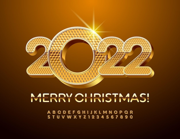 Vector ouro cartão de felicitações feliz natal 2022 elite 3d fonte premium, letras e números