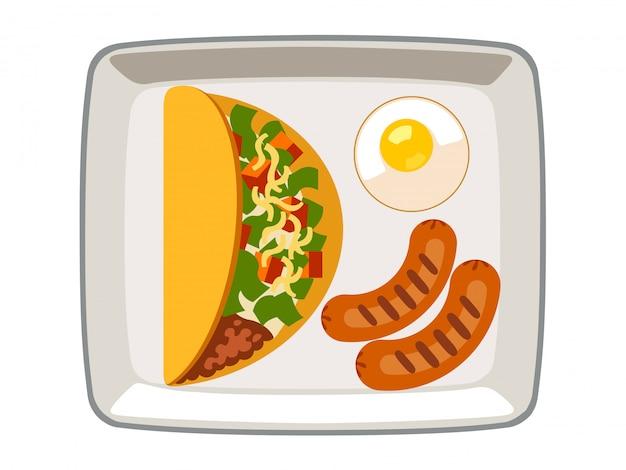 Vector ovos fritos da salsicha do no espeto em uma placa em um fundo branco.