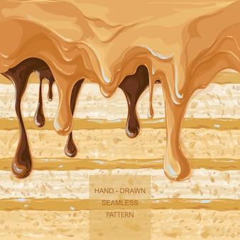 Vector padrão de gotejamento xarope nas camadas de bolo