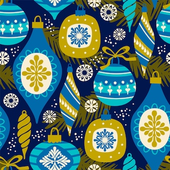 Vector padrão sem costura com ano novo e símbolos de natal.