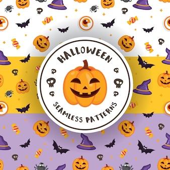 Vector padrão sem costura com cores diferentes para halloween