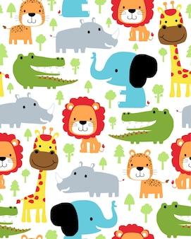 Vector padrão sem emenda com desenhos animados de animais