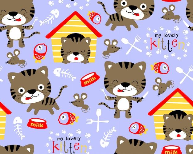 Vector padrão sem emenda com desenhos animados de gatinhos