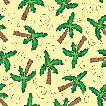 Vector palmeiras verdes sem costura de fundo com elementos desenhados à mão