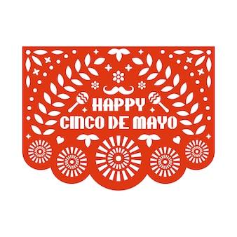 Vector papel picado cartão com padrão floral e texto. cinco feliz de mayo. modelo de corte de papel. guirlanda de papel mexicano.