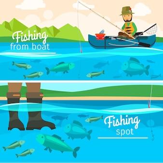 Vector pescador pegando peixe no lago