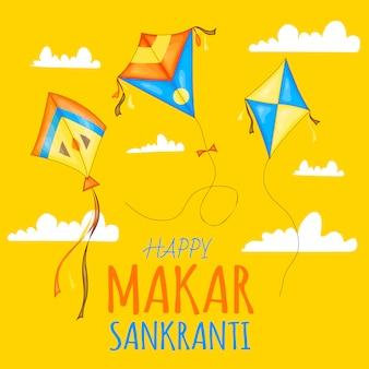Vector pipas coloridas para celebração feliz festival makar sankranti.
