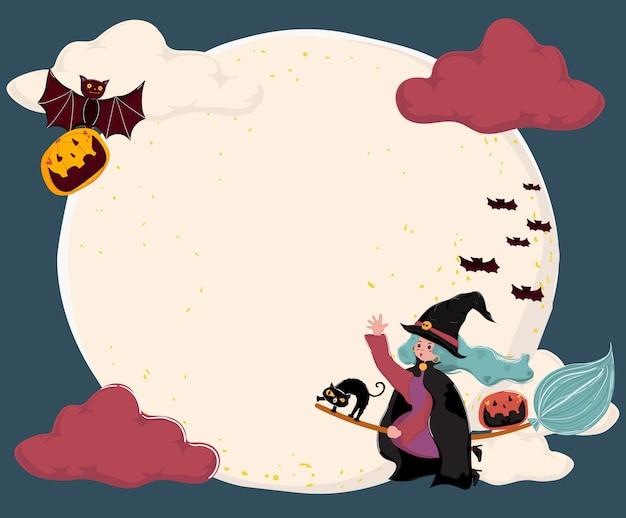 Vector plana fofa uma bruxa montar uma vassoura, voando sobre a lua cheia com gato e morcego