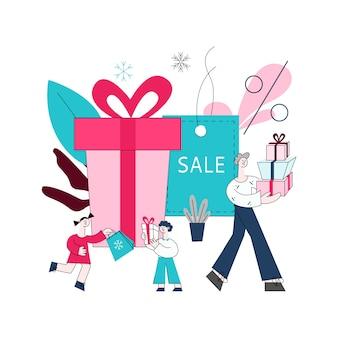 Vector plana homem menina menino crianças com sacos de compras