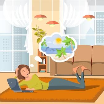 Vector plana ilustração mãe pensa sobre viagens.