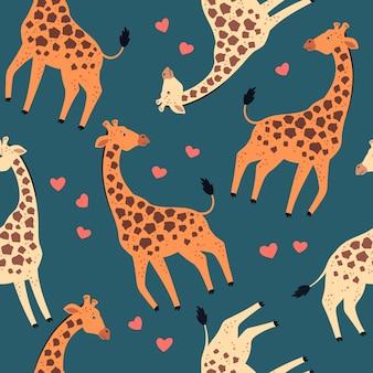 Vector plana mão desenhada padronizar. girafas com corações.