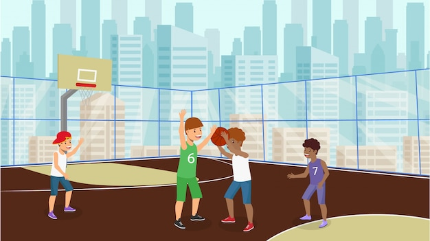 Vector plana muitas crianças jogam basquete menino branco.