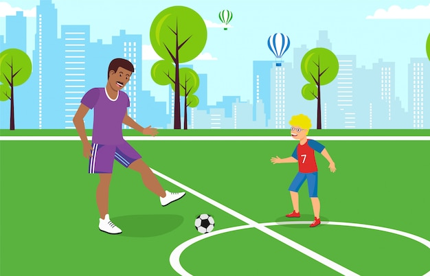 Vector plana pai brincando com filho no futebol.
