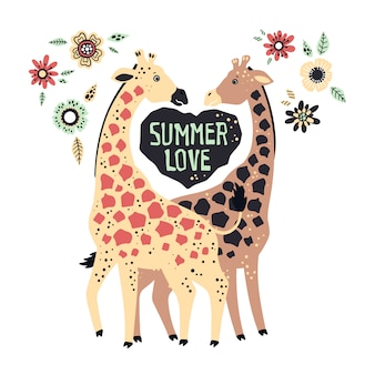 Vector planas mão desenhada girafas, rodeadas por plantas tropicais e flores.