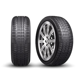 Vector pneu de carro de corrida de alumínio ou auto pneus na frente e vista lateral.