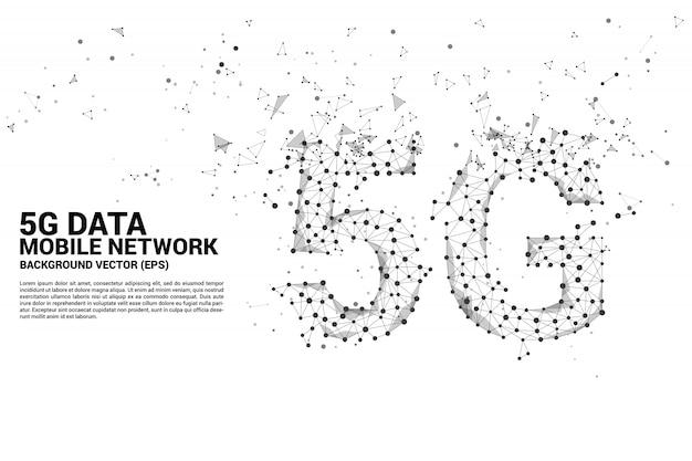 Vector polygon dot conectar linha em forma de rede de rede móvel 5g