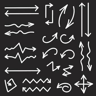 Vector preto conjunto de 26 setas desenhadas mão