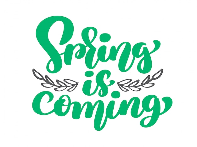 Vector primavera está chegando de galhos e folhas. texto de mão desenhada