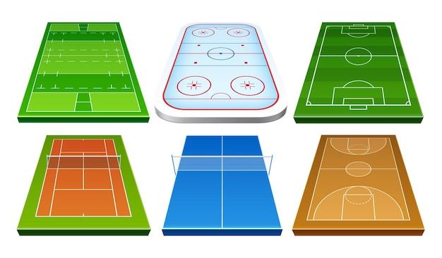 Vector realista badminton hóquei no gelo, rugby, futebol, futebol e basquete, jogo, playground