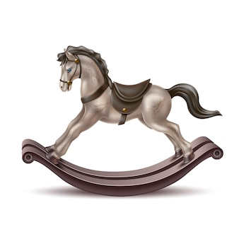 Vector realista cavalo de balanço vintage brinquedo 3d