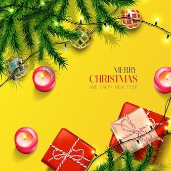 Vector realista natal e ano novo fundo banner panfleto cartão postal cartão quadrado o