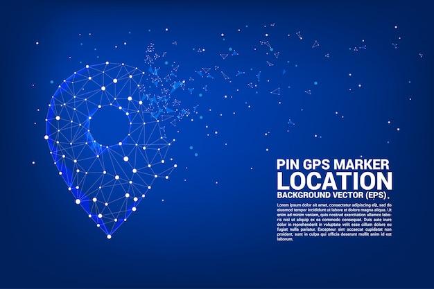 Vector rede pin marca polígono ponto conectado linha