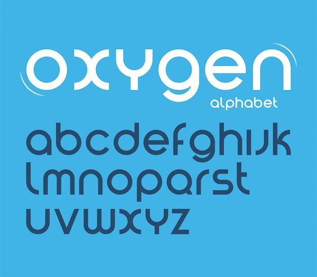 Vector redondo estilo minimalista fonte, letras do alfabeto