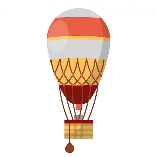 Vector retrô de balão de ar quente do funil de nuvem com gôndola