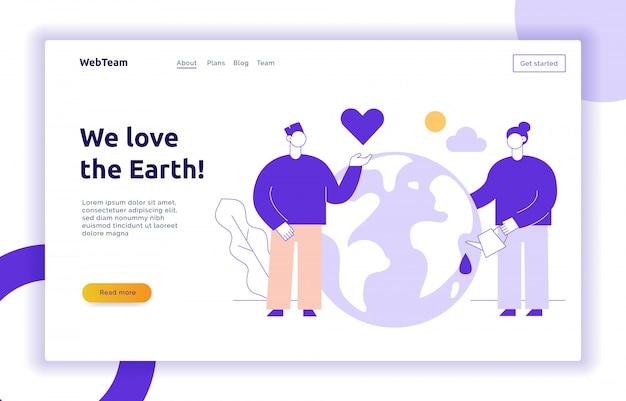 Vector salvar o modelo de design de banner de página web do planeta