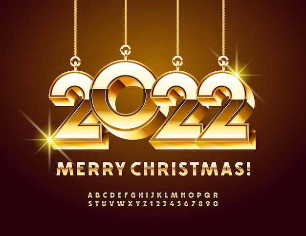 Vector saudação cartão feliz natal 2022 com brinquedos decorativos, letras e números do alfabeto de ouro
