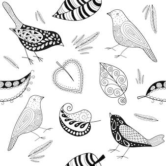 Vector seamles patern doodle pássaro e folhas em preto e branco.