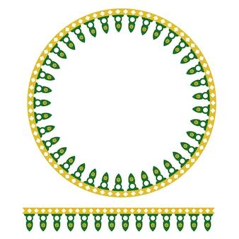 Vector seamless círculo verde amarelo decoração casa tradicional da antiga jacarta, indonésia