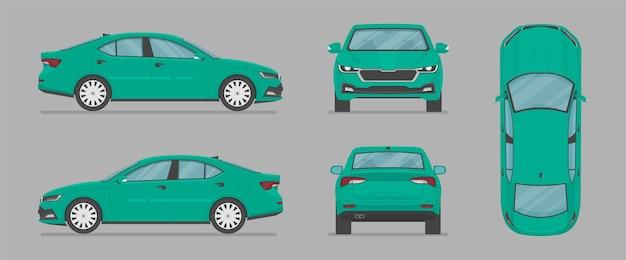 Vector sedan auto de diferentes lados