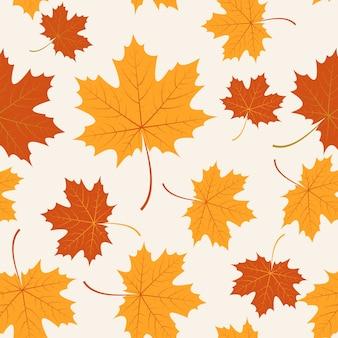 Vector sem costura com folhas de bordo de outono