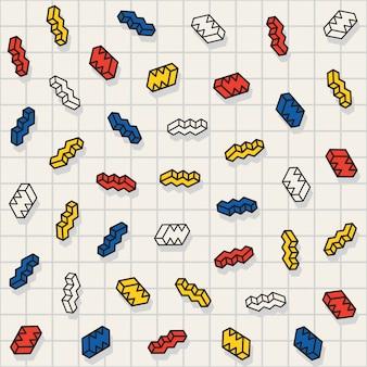 Vector sem costura multicolor dispersas padrão de formas em zigue-zague