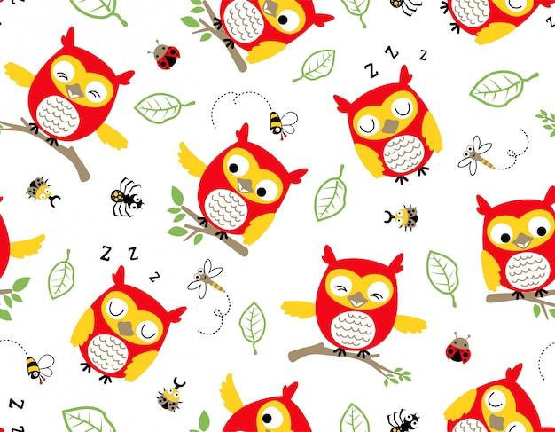 Vector sem costura padrão de desenho de coruja com insetos