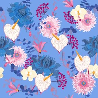 Vector sem costura padrão floral florescendo