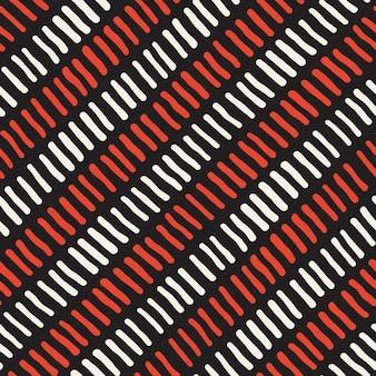 Vector sem costura preto branco vermelho mão desenhada padrão de linhas diagonais